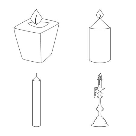 Isolated object of source and ceremony symbol. Collection of source and fire stock symbol for web. Иллюстрация