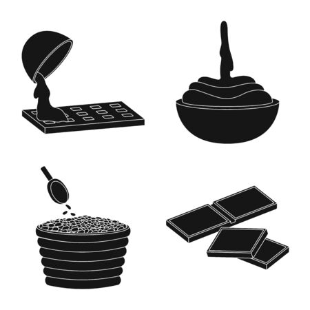 Vector design of cooking and brown icon. Set of cooking and beans stock vector illustration.