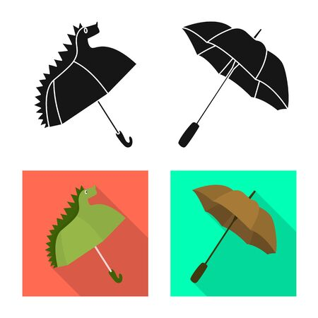 Vector design of protection and closed icon. Set of protection and rainy stock vector illustration.