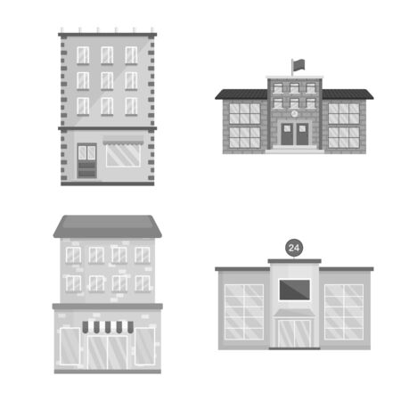 Isolated object of construction and city logo. Collection of construction and center vector icon for stock.