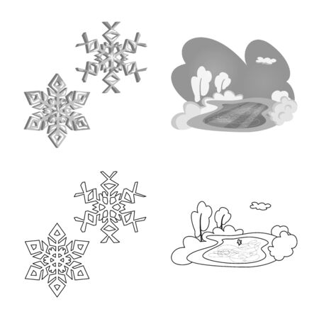 Vector illustration of texture and frozen sign. Set of texture and transparent stock vector illustration.