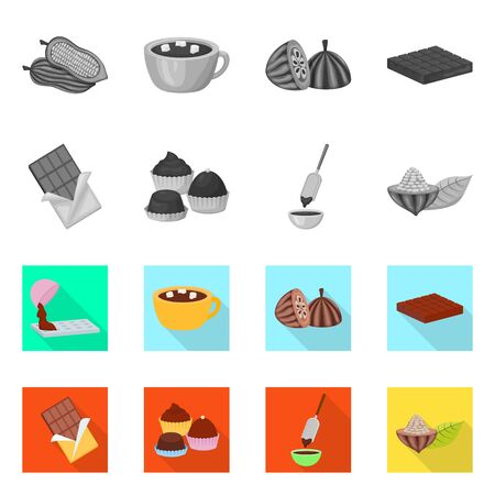 Isolated object of food and yummy icon. Collection of food and brown vector icon for stock.