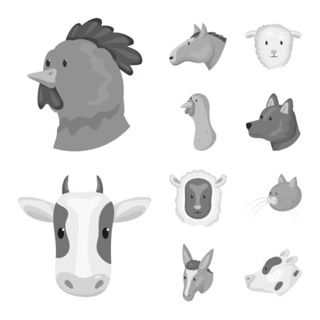 Isolated object of countryside and homestead logo. Set of countryside and breeding vector icon for stock. Ilustracja