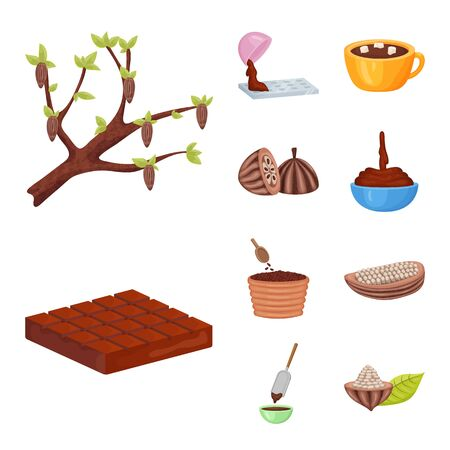 Isolated object of cocoa and beans icon. Collection of cocoa and sweetness stock symbol for web. Stock Illustratie