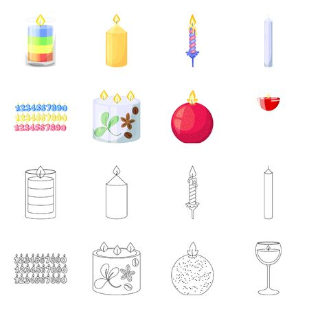 Isolated object of relaxation and flame symbol. Collection of relaxation and wax stock symbol for web. Archivio Fotografico - 135498059