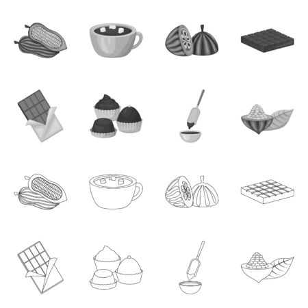 Isolated object of food and yummy symbol. Set of food and brown stock vector illustration.