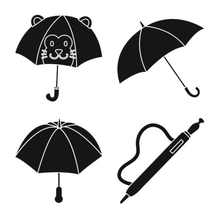 Vector design of weather and rainy symbol. Collection of weather and rain stock vector illustration.