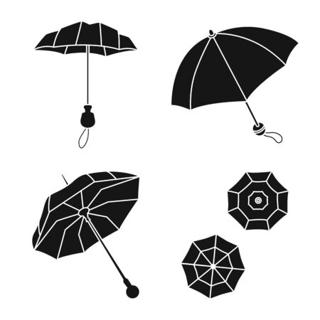 Vector illustration of weather and rainy icon. Set of weather and rain stock vector illustration.