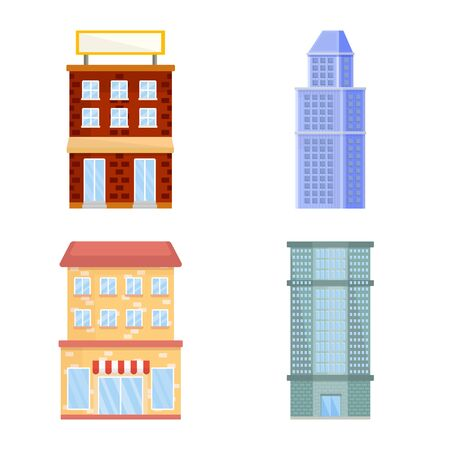 Vector design of facade and building logo. Set of facade and exterior stock vector illustration.