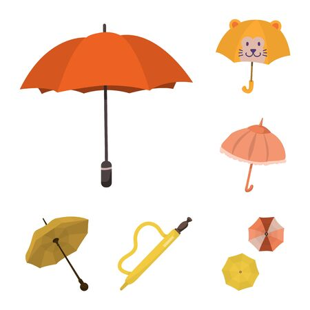 Vector design of umbrella and rain sign. Set of umbrella and weather stock vector illustration.