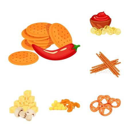 Vector design of food and product sign. Set of food and party vector icon for stock.