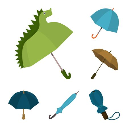 Vector illustration of umbrella and rain sign. Collection of umbrella and weather stock symbol for web.