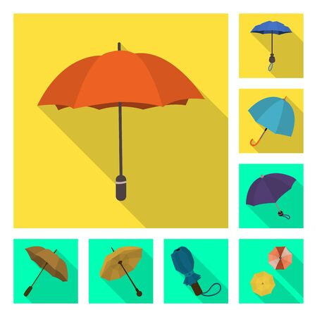 Vector illustration of protection and closed sign. Collection of protection and rainy vector icon for stock.