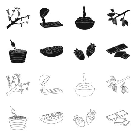 Vector design of food and yummy sign. Set of food and brown vector icon for stock.