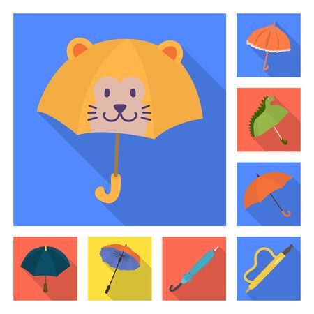 Vector illustration of protection and closed icon. Collection of protection and rainy stock vector illustration. Çizim
