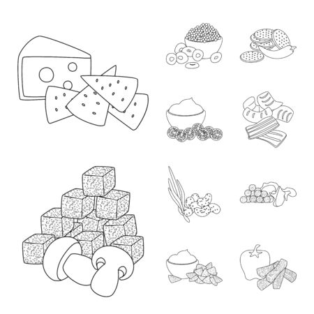Isolated object of taste and crunchy sign. Set of taste and cooking vector icon for stock.