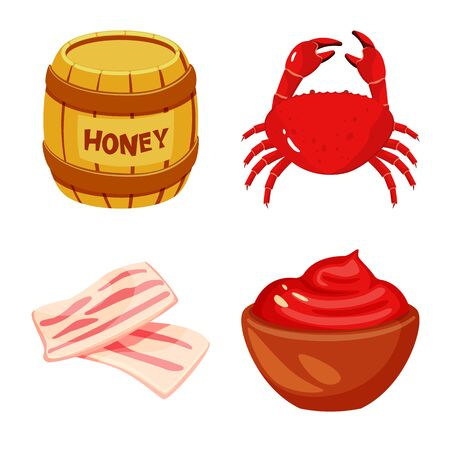 Isolated object of food and flavors. Collection of food and ingredient vector icon for stock.