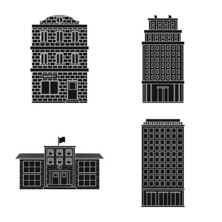 Isolated object of modern and estate icon. Collection of modern and building vector icon for stock.