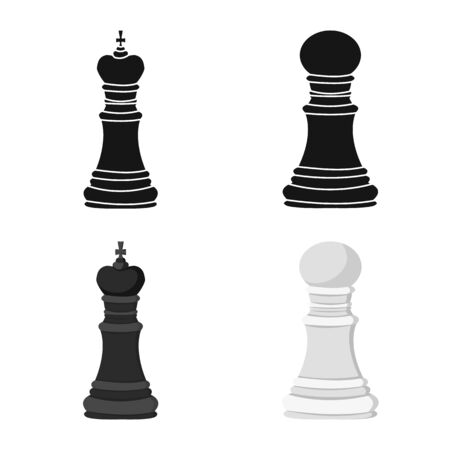 Isolated object of checkmate and thin sign. Set of checkmate and target stock vector illustration. Foto de archivo - 138472904