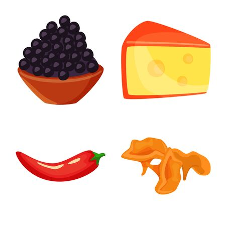 Isolated object of food and flavors icon. Collection of food and ingredient vector icon for stock.
