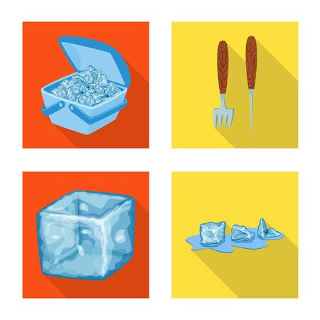 Vector design of texture and frozen icon. Set of texture and transparent stock vector illustration.