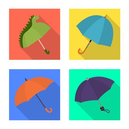 Vector illustration of protection and closed symbol. Set of protection and rainy vector icon for stock.