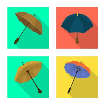 Vector illustration of protection and closed symbol. Collection of protection and rainy vector icon for stock. Çizim
