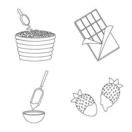 Vector design of cocoa and beans sign. Collection of cocoa and sweetness stock vector illustration.