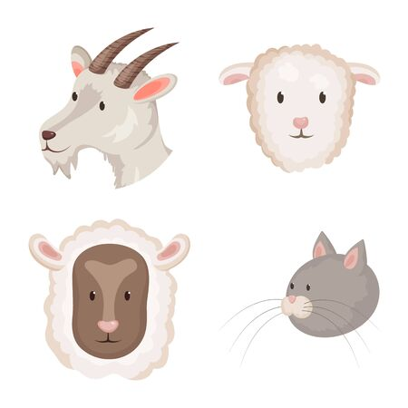 Isolated object of farm and head icon. Collection of farm and homemade vector icon for stock.