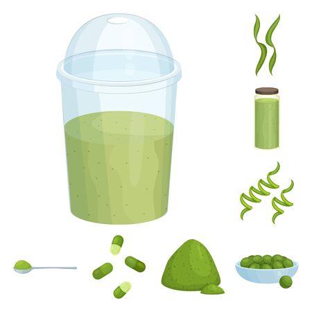 Vector illustration of spirulina and seaweed symbol. Set of spirulina and vegan stock symbol for web. Illusztráció