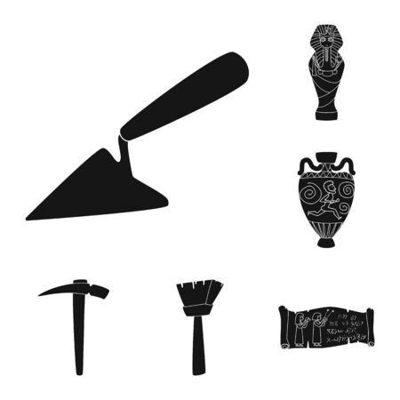 Isolated object of museum and attributes symbol. Collection of museum and historical vector icon for stock.