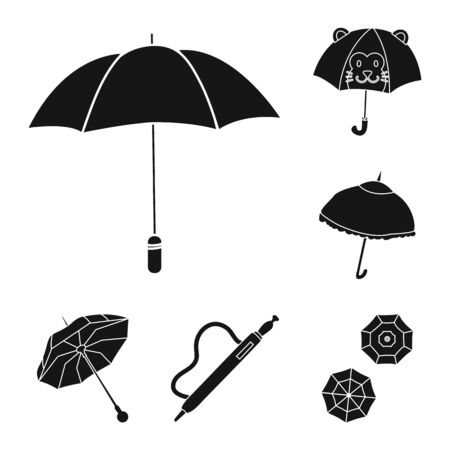 Vector illustration of weather and rainy sign. Collection of weather and rain vector icon for stock.
