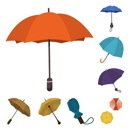 Vector illustration of umbrella and rain sign. Collection of umbrella and weather vector icon for stock.