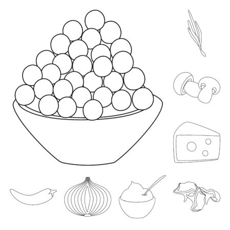 Vector illustration of seasonin and ingredient sign. Set of seasonin and aroma vector icon for stock. Ilustração