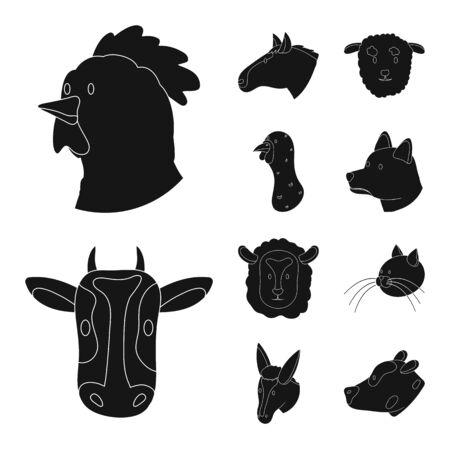 Isolated object of ranch and organic symbol. Collection of ranch and head vector icon for stock.
