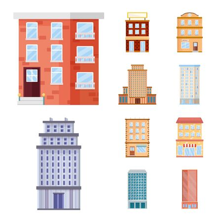 Isolated object of facade and building symbol. Collection of facade and exterior stock symbol for web.