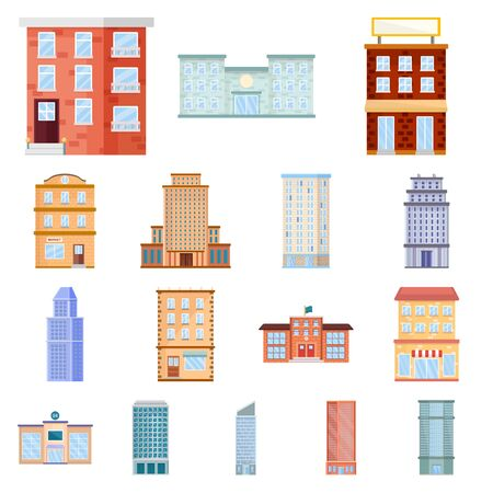 Isolated object of facade and building logo. Set of facade and exterior stock symbol for web. Stock fotó - 137864321
