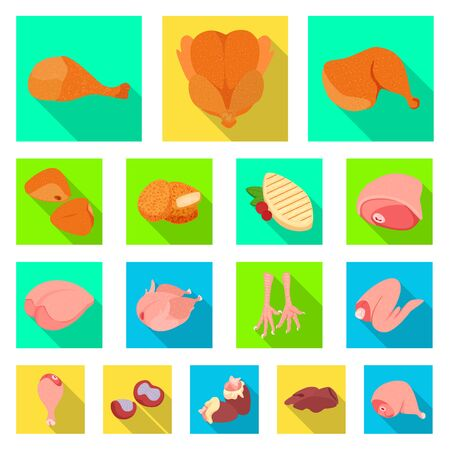 Vector illustration of product and poultry symbol. Collection of product and agriculture vector icon for stock. 向量圖像