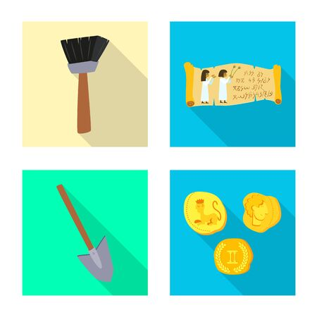 Vector illustration of story and items sign. Collection of story and attributes stock symbol for web.