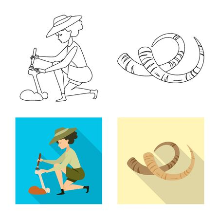 Vector illustration of story and items icon. Set of story and attributes stock symbol for web.