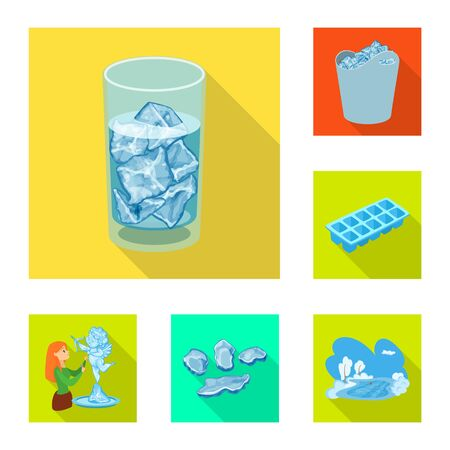 Vector design of texture and frozen icon. Collection of texture and transparent vector icon for stock.