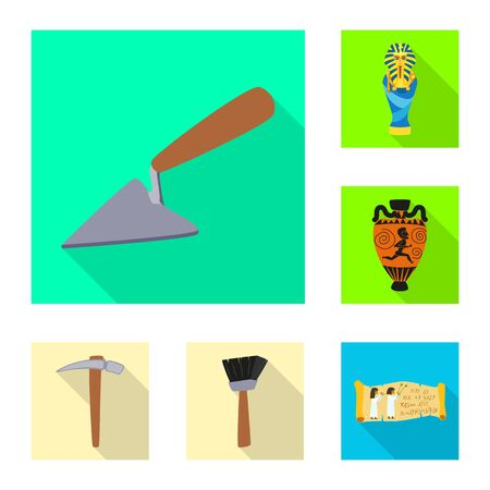 Isolated object of story and items symbol. Set of story and attributes vector icon for stock.