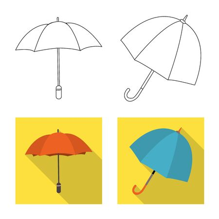 Isolated object of protection and closed sign. Collection of protection and rainy stock vector illustration.