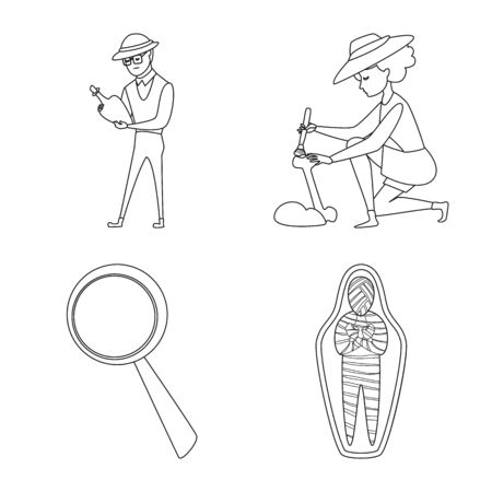 Isolated object of story and research symbol. Set of story and discovery vector icon for stock.