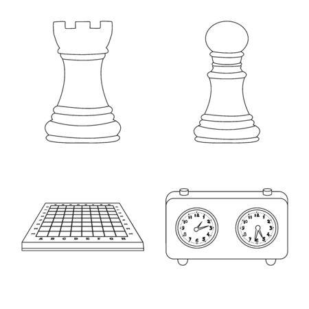 Objet isolé de l'icône de la pièce et de la stratégie. Collection de pièce et jouer illustration vectorielle stock.