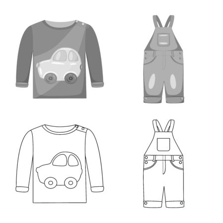Vector illustration of fashion and garment symbol. Set of fashion and cotton stock symbol for web.