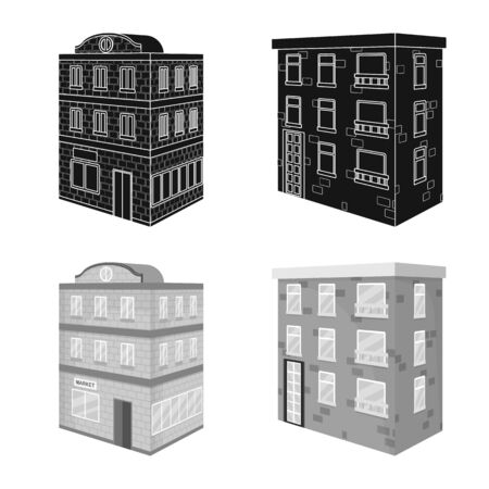 Vector illustration of construction and building icon. Set of construction and estate stock vector illustration. Stock Illustratie