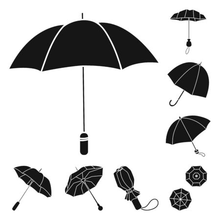 Isolated object of weather and rainy icon. Set of weather and rain vector icon for stock. Çizim