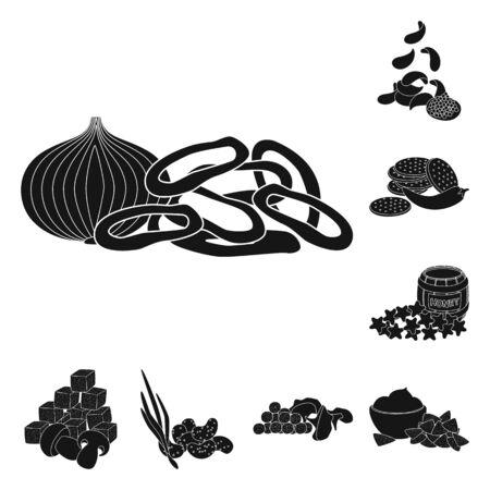 Vector design of ingredient and organic symbol. Set of ingredient and product stock vector illustration.