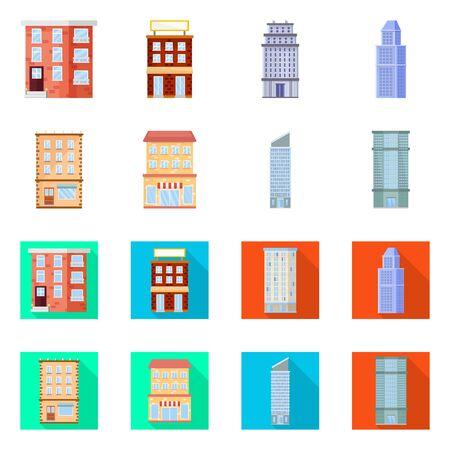 Vector illustration of municipal and center sign. Collection of municipal and estate vector icon for stock. Illusztráció